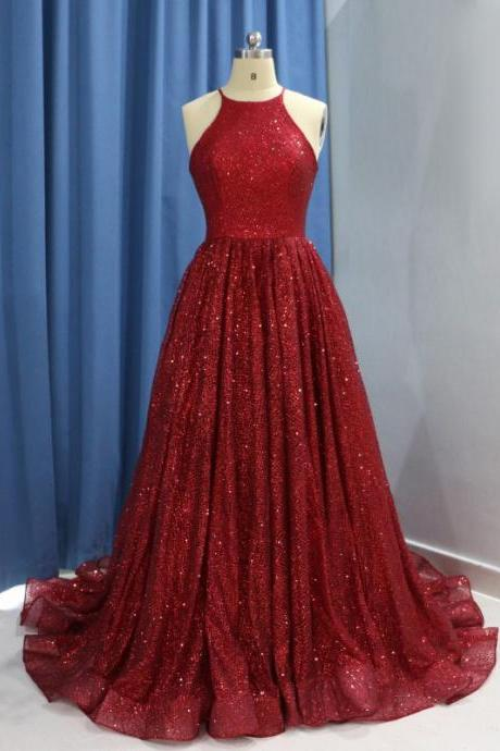 Luxury Red Evening Gown Sequin Ball Gown Prom Dresses 2018 Long Elegant Sequin quinceanera dresses