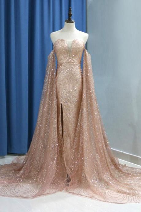 Luxury Glitter Rose Gold Sequin Mermaid Prom Dresses With Detachable Long Sleeves Evening Formal Gown Side Split V-neck Court Train
