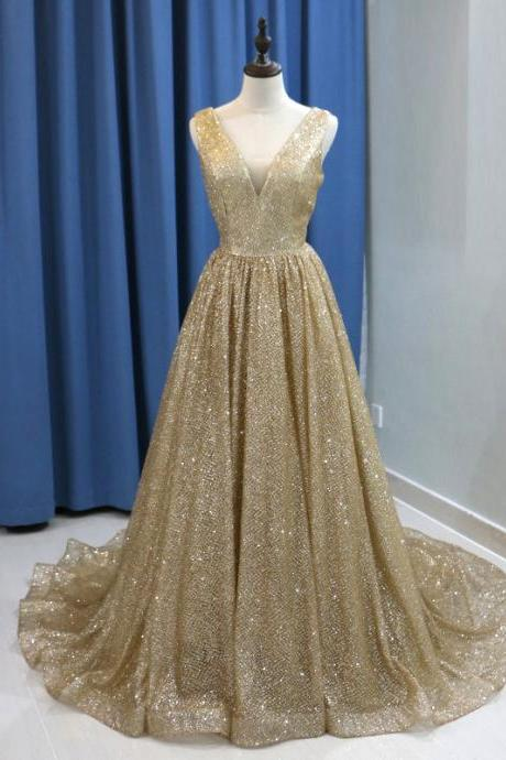Sexy Gold Sequin Arabic Evening Dress 2019 Long Dubai Prom Dresses V-neck Backless Plus Size Women Formal Gowns