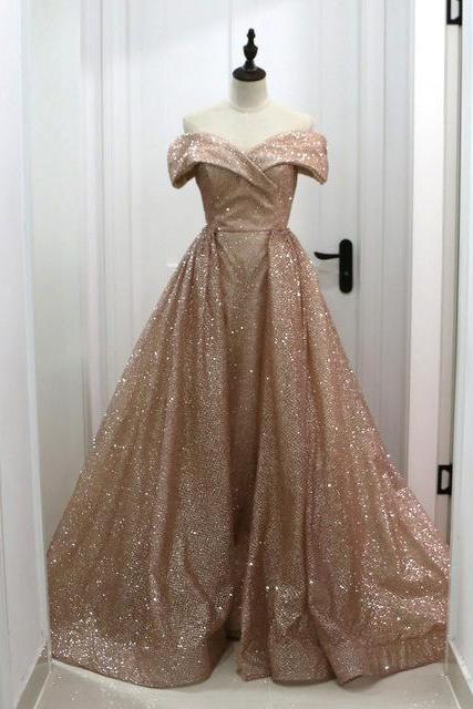 Rose Gold Sequins Dubai Evening Dresses With Detachable Train 2019 Elegant Off Shoulder Sparkly Arabic Overskirt Prom Dresses Long Formal Gowns