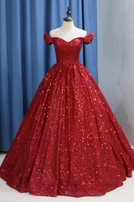 Sparkly Wine Red Sequins Ball Gown Wedding Dress Luxury 2019 Dubai Burgundy Wedding Gowns Lace-up Arabic Bride Dresses