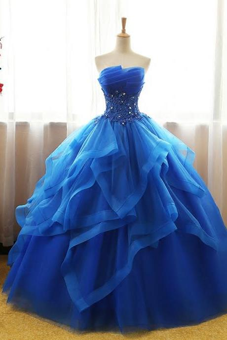 Royal Blue Lace Applique Ruffle Prom Dresses, Quinceanera Dress 2019 Ball Gown Vestidos De 15 Debutante Gowns Sweet 16 Dresses