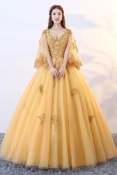 Elegant Long V Neck Gold Prom Dresses, Quinceanera Dress 2019 Ball Gown Vestidos De 15 Debutante Gowns Sweet 16 Dresses