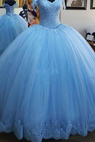 Blue Tulle Long Evening Prom Gowns,V Neck Lace Applique Bodice Quinceanera Dresses