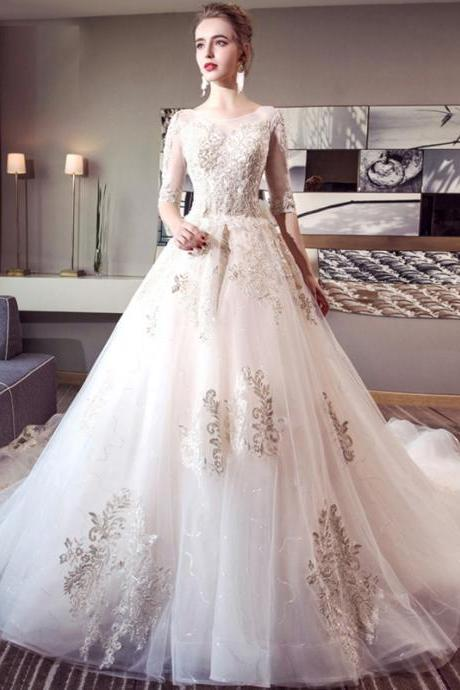 Wedding Dress, Wedding Dresses, lace applique wedding dress, white wedding dress, tulle wedding dresses,Chapel Train Wedding Dresses,Bridal Gown