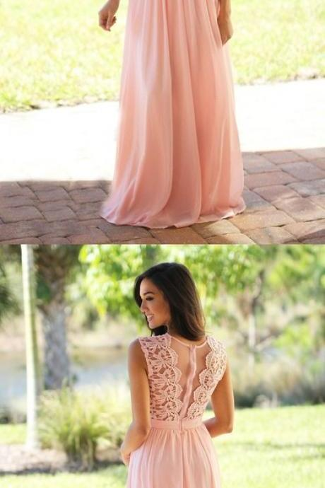 Elegant Long Pink A Line Evening Dress Featuring Lace Bodice,Sexy Chiffon Long Prom Dresses