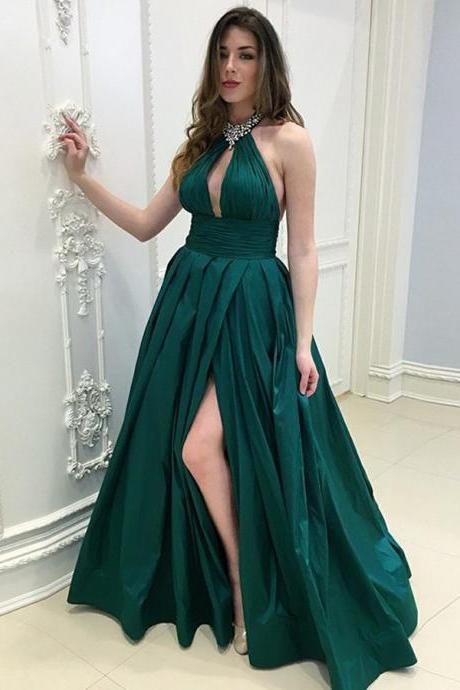 New Sexy Teal Green Prom Dresses Satin Halter Neckline Side Split Evening Formal Gowns Wedding Party Dress