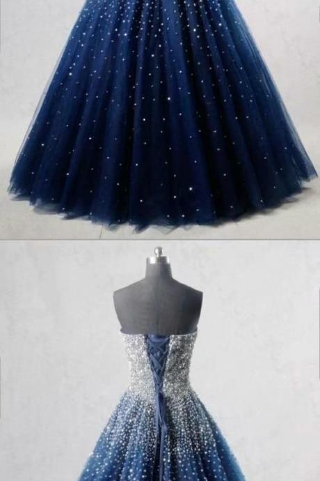 Sexy Navy Blue Beaded Strapless Evening Dresses Long Sexy Tulle Prom Dress Robe De Soiree Formal Gowns