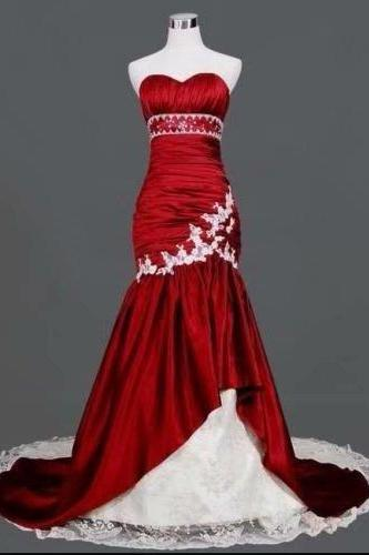 Red Mermaid Wedding Dresses Lace Taffeta Sweetheart Bride Dress Bridal Gown
