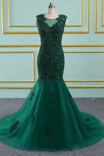 Floor Length Prom Dresses 2019 New Tulle Beaded Appliques Mermaid Dark Green Vintage Evening Dress