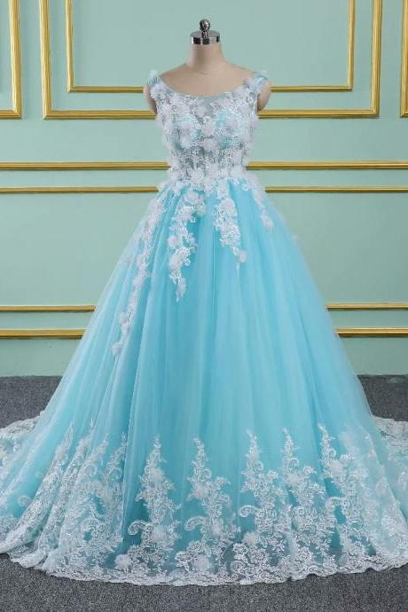 6c932f908a5b7 Blue Floral Prom Dresses 2019 New Tulle Lace Appliques Sheer Neck Princess  Ball Gown Vintage Evening