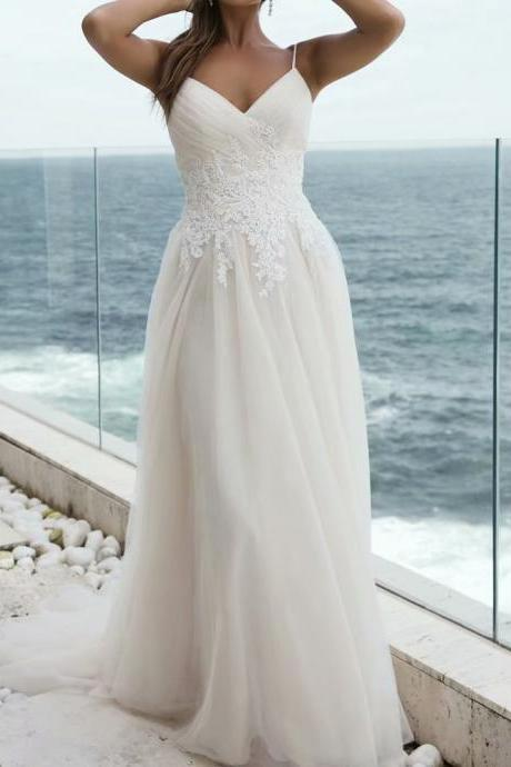 Beach Wedding Dresses Spaghetti Straps Applique Bridal Dress Sexy V Neck Wedding Gowns