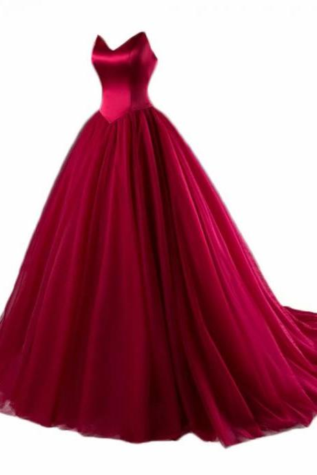 Burgundy Evening Gowns V Neck Tulle Evening Dresses Long Chapel Train Formal Dress