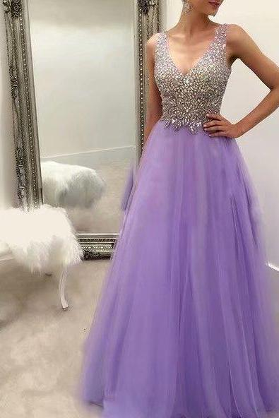 Long Lavender Tulle Formal Dresses Featuring Rhinestone Beaded Bodice With V Neckline -- Long Elegant Prom Dresses, Sexy Evening Gowns