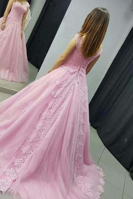 Long Pink Lace Applique Formal Dresses Featuring Lace Bodice With V Neckline -- Long Elegant Prom Dresses, Sexy Evening Gowns