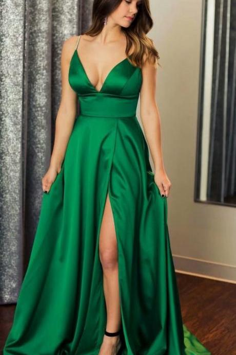 Green Spaghetti Straps A-line Prom Dresses,Cheap Prom Dress,Prom Dresses For Teens,Satin Evening Dresses With V Neck And Side Split