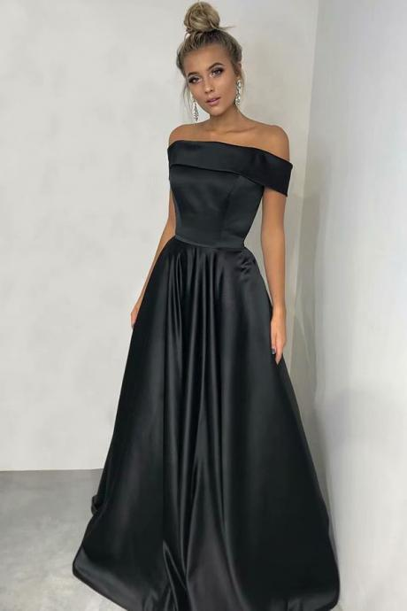 Black Boat Neck A-line Prom Dresses,Cheap Prom Dress,Prom Dresses For Teens,Satin Strapless Simple Evening Dresses
