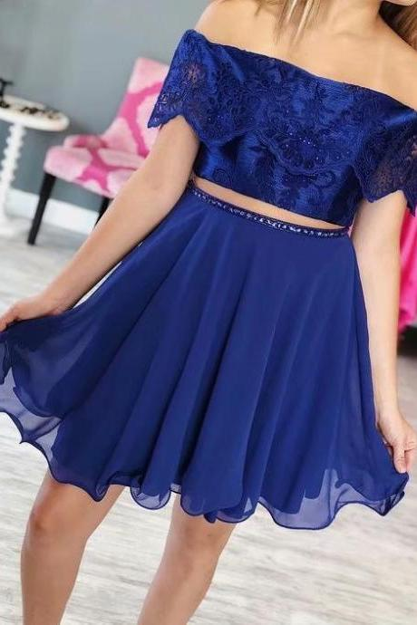 Royal Blue Lace Two Piece Homecoming Dresses Women Party Dresses