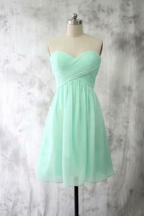 Mint Green Chiffon Homecoming Dresses Short Mini Women Evening Party Dresses