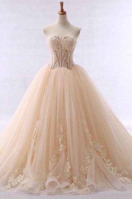 2019 Wedding Dresses,Real Photo Wedding Dresses,Champagne Wedding Dresses With Lace Appliques, Luxury Wedding Dresses,Wedding Gowns,Bridal Gowns