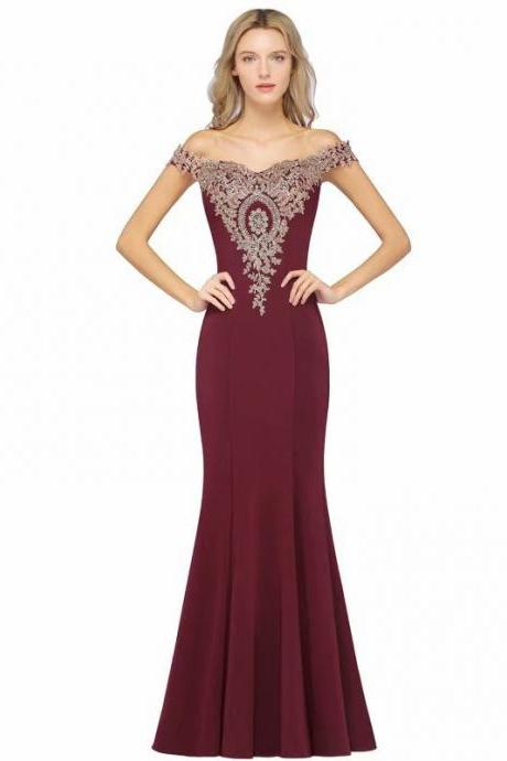 Prom Dresses 2019 New Off Shoulder Lace Appliques Mermaid Burgundy Party Dress Prom Gowns
