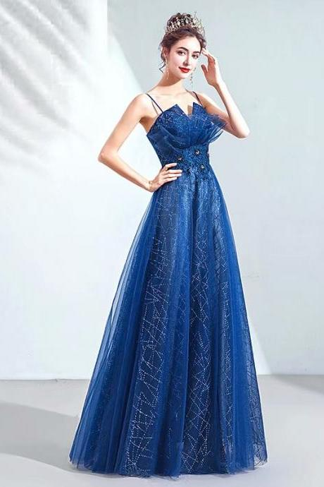 New Arrival 2019 Long Prom Dresses Luxury Beaded Spaghetti Straps Tulle Royal Blue Formal Evening Dress Party Gown Robe de Soiree