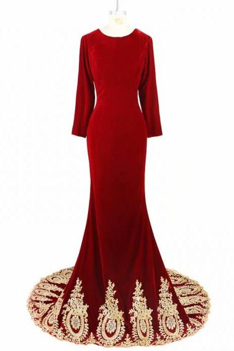 Red Prom Dresses 2019 O Neck Sweep Train Long Sleeve Evening Gown Mermaid Zipper Backless Vestido De
