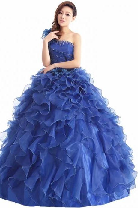 Elegant Prom Dresses Long 2019 Women's Sexy A-line One Shoulder Royal Blue Organza Cheap Evening Party Gowns
