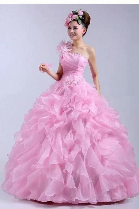 Pink Prom Dresses Long 2019 Women's Sexy Ball Gown Organza Cheap Evening Party Gowns