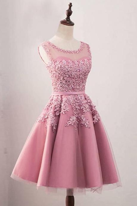 Sexy Cheap Women Pink Short Prom Dresses 2019 Sexy Prom Dress Scoop Tulle Lace Applique Zipper Back Evening Party Gown Homecoming Graduation Dress