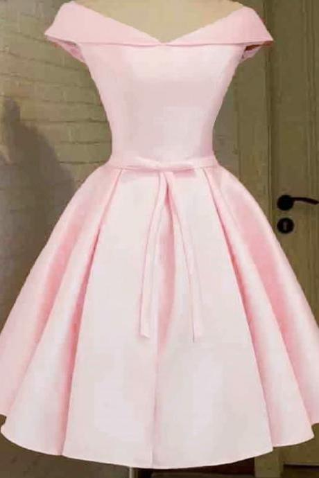 Real Photos Pink Satin Prom Dresses 2019 V Neck Lace-Up Knee-Length Prom Dress Short Evening Party Gowns