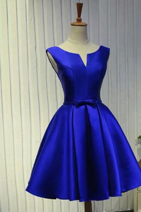 Real Photos Royal Blue Satin Prom Dresses 2019 V Neck Lace-Up Knee-Length Prom Dress Short Evening Party Gowns
