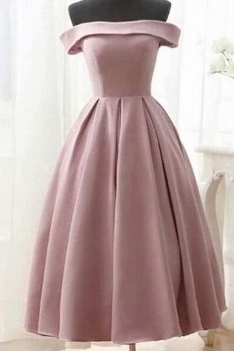 Real Photos Satin Prom Dresses 2019 Strapless Lace-Up Tea Length Prom Dress Short Evening Party Gowns