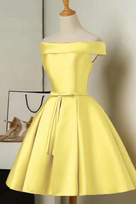 Prom Dresses 2019 Elegant Ladies Sexy Sleeveless Above Knee Mini Yellow Satin Ball Gown Formal Party Dress