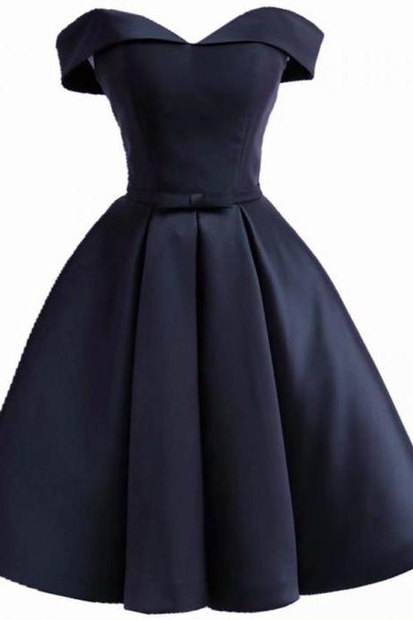 Short Prom Dresses 2018 Strapless Vintage Navy Blue Dress For Homecoming Party Mini Gowns