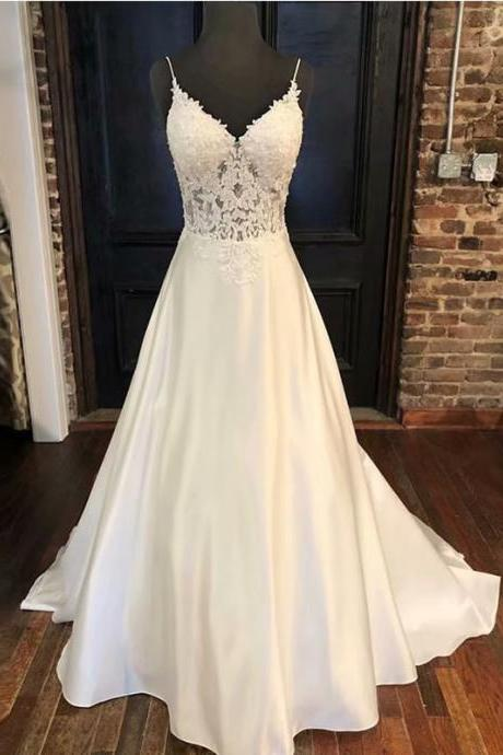 Ball Gowns Spaghetti Straps White Ivory Satin Wedding Dresses 2019 With Lace Applique Bridal Dress Marriage Customer Made Size