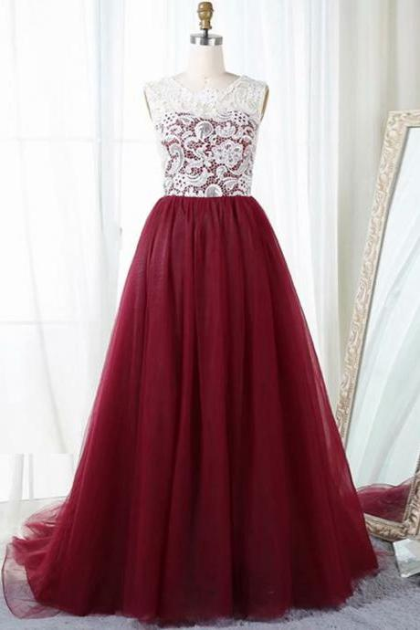 Fashion Burgundy Evening Dresses 2019 Sheer Neck Sleeveless Zipper Sweep Train With Lace Bodice Custom Made Burgundy Prom Dresses