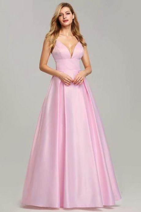 Long Bridesmaid Dress,Strapless Bridesmaid Dress,Satin Bridesmaid Dress,Cheap Bridesmaid Dress,Pink Bridesmaid Dress