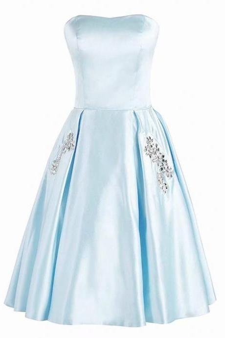 A-Line Strapless Light Blue Short Empire Satin Bridesmaid Dresses With Beaded Pocket