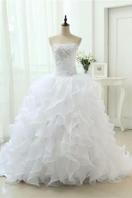 Long Wedding Dress, Ball Gown Wedding Dress, Organza Wedding Dress, Strapless Ruffles Bridal Dress