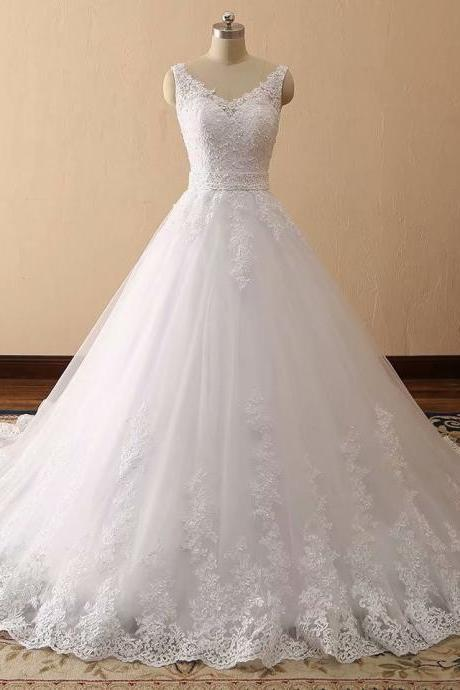 Ball Gown Wedding Dresses, Lace Bridal Dresses, Tulle Bridal Dress, New Arrival Wedding Dress, Fashion Wedding Gown, Ball Gown Bridal Dress, White Wedding Dress, 2019 Lace Bridal Dresses