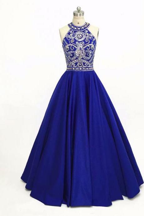 Evening Dresses, Prom Dresses,Party Dresses,Royal Blue Beading Prom Dresses,Modest Prom Dresses,Sexy New Prom Dress,New Arrival Crystal Prom Gowns Fashion Sexy Sleeveless Evening Gowns