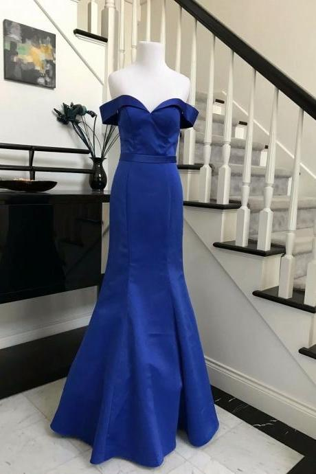 Fashion Mermaid Prom Dresses 2019 New Satin Floor Length Off The Shoulder Royal Blue Evening Gowns