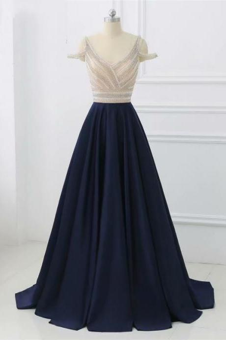 Charming Prom Dress,Sleeveless Satin Prom Dress,Sexy Navy Blue Evening Dress,Long Party Prom Dresses