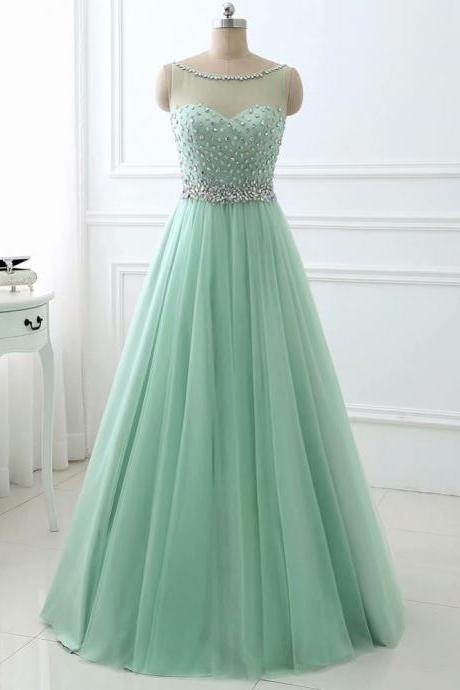 Sage Green Prom Dress ,Long Prom Dresses, A Line Tulle Crystal Tulle Formal Evening Dress
