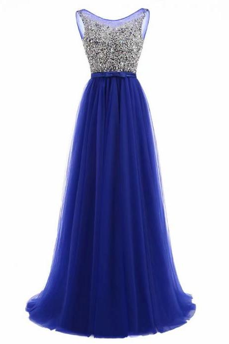 Royal Blue Prom Dresses 2019 Tulle Wedding Party Gowns With Sheer Neck Long A Line Formal Evening Dress