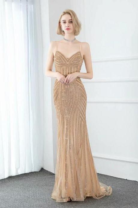 2019 Sexy Luxury Champagne Mermaid Evening Dress Pageant Dresses V-neck Sequin Fashion Evening Gown Competition Gown Spaghetti Straps
