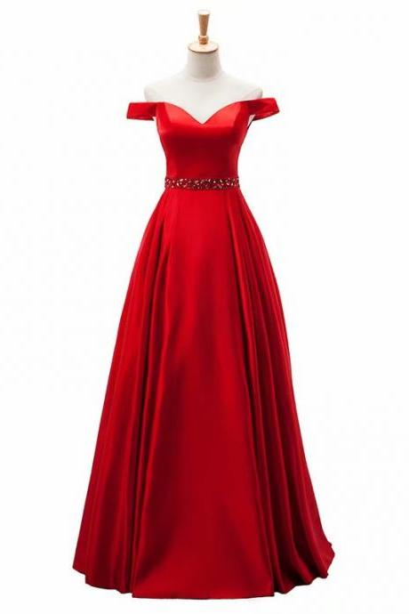 2019 Red Evening Dress Pageant Dresses Off Shoulder Beading Fashion Satin Evening Gown Competition Gown