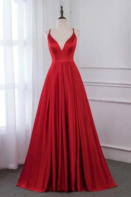 2019 Red Evening Dress V Neck Pageant Dresses Sexy Cross Back Prom Gown Formal Gown
