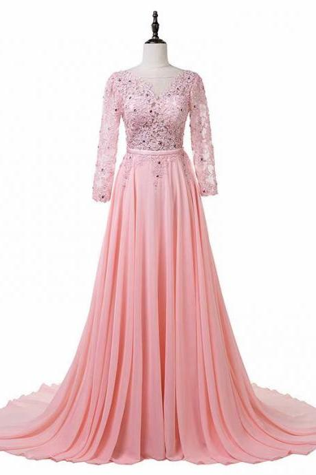 New 2019 Long Sleeve Pink Evening Dress Pageant Dresses Sheer Neck Chiffon Fashion Evening Gown Formal Prom Dresses